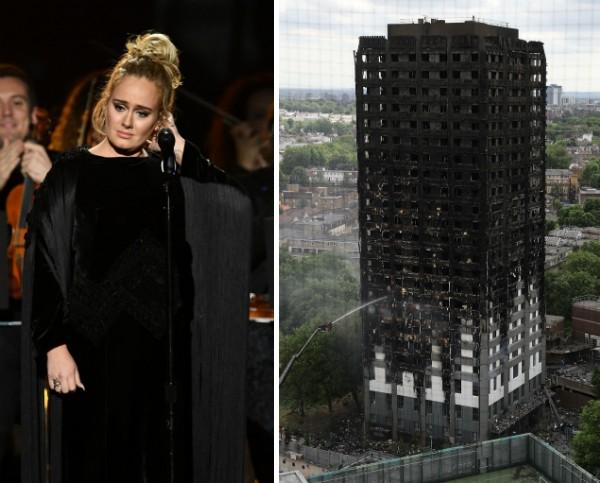 A cantora Adele e a Grenfell Tower em Londres (Foto: Getty Images)