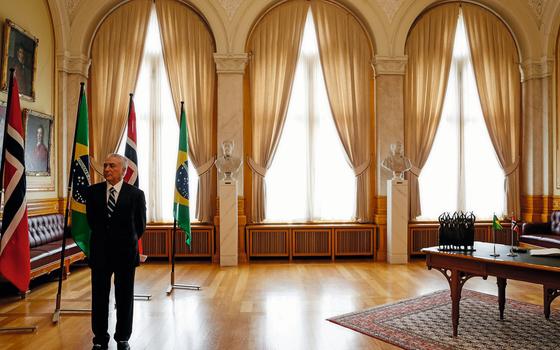 O presidente Michel Temer em Oslo,na Noruega (Foto: Beto Barata/PR)