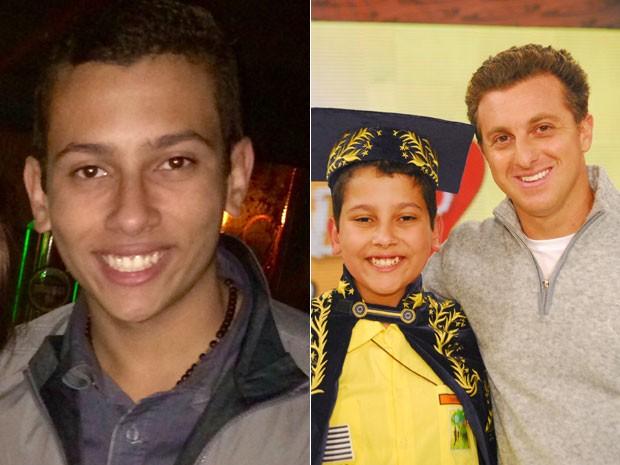 Dener Luiz Silva está com 17 anos; ele foi campeão do Soletando, do Caldeirão do Huck, em 2010 (Foto: Arquivo pessoal/Fatima Silva/TV Globo/Thiago Prado Neris)
