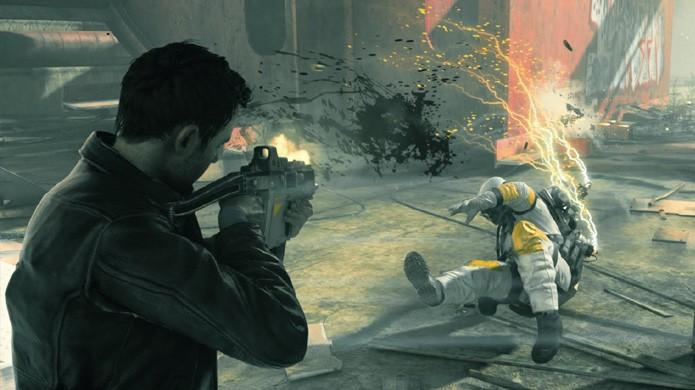Ao eliminar um agente da Monarch Solutions em Quantum Break, o corpo dele fica parado no tempo como os outros (Foto: Reprodução/YouTube)