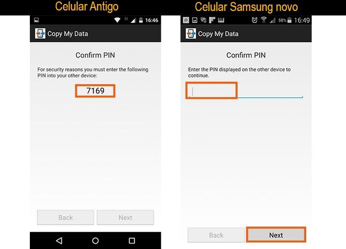 Faça a sincronização com o código indicado na tela do celular antigo (Foto: Reprodução/Barbara Mannara)
