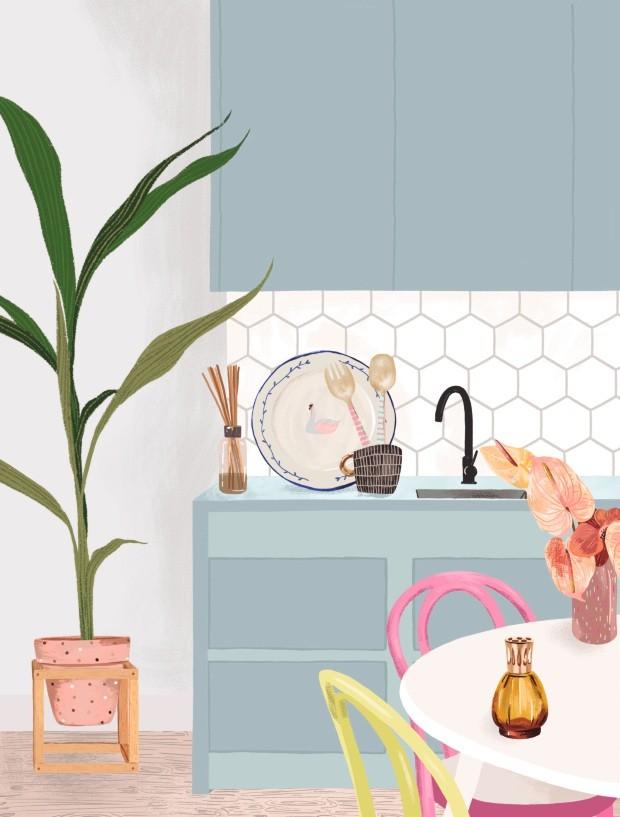 Plantas na cozinha (Foto: Ilustração Malena Flores)