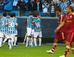 Jogadores do Grêmio comemoram gol contra o Fluminense (Foto: Lucas Uebel/Divulgação, Grêmio)