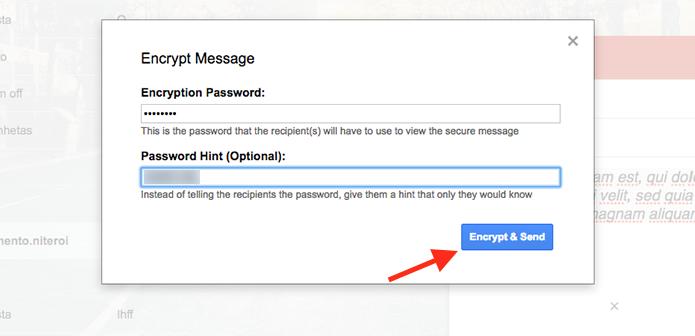 Configuração de senha para abrir um e-mail criptografado pela extensão para Chrome Secure Mail for Gmail (Foto: Reprodução/Marvin Costa)