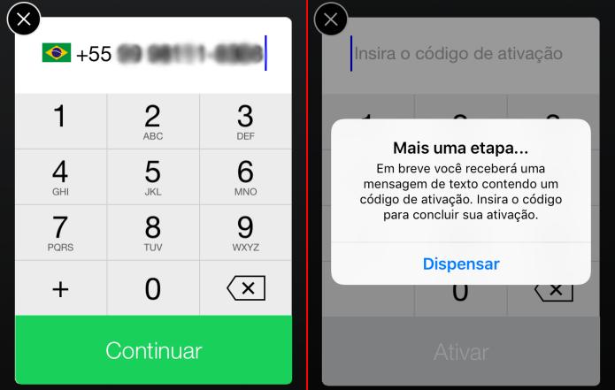 Enviando o número do seu telefone para ativar o App (Foto: Reprodução/Edivaldo Brito)
