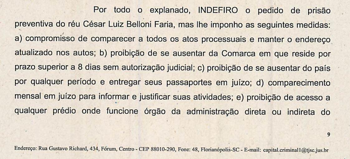 Juiz indefere pedido de preventiva do vereador Cesar Faria (Foto: Reprodução/TJSC)