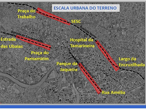 Documento da Prefeitura compara extensão do terreno do projeto Novo Recife com outros pontos da cidade, permitidno visão mais concreta da dimensão da área (Foto: Divulgação / Prefeitura do Recife)