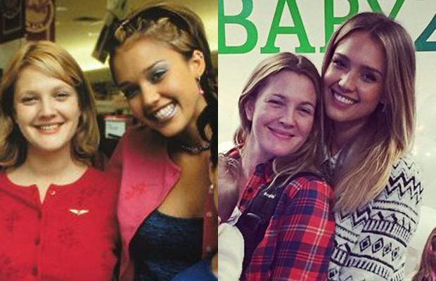 Drew Barrymore e Jessica Alba no filme 'Nunca fui Beijada', de 1999 e agora (Foto: reprodução)