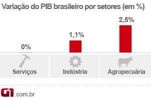 PIB brasileiro - por setores (Foto: Editoria de Arte/G1)