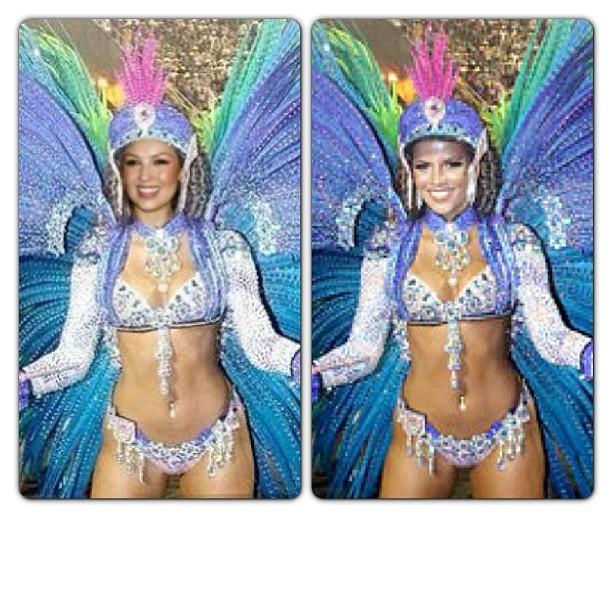 Thalia usou foto de Renata Santos em montagem sobre o carnaval
