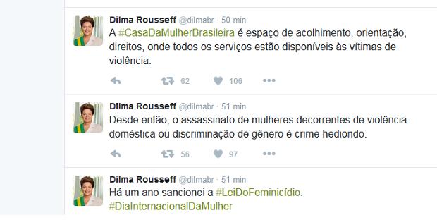 Presidente lembrou no Twitter do Dia Internacional da Mulher (Foto: Reprodução/Twitter)