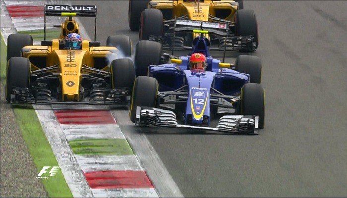 Acidente entre Felipe Nasr e Jolyon Palmer no GP da Itália