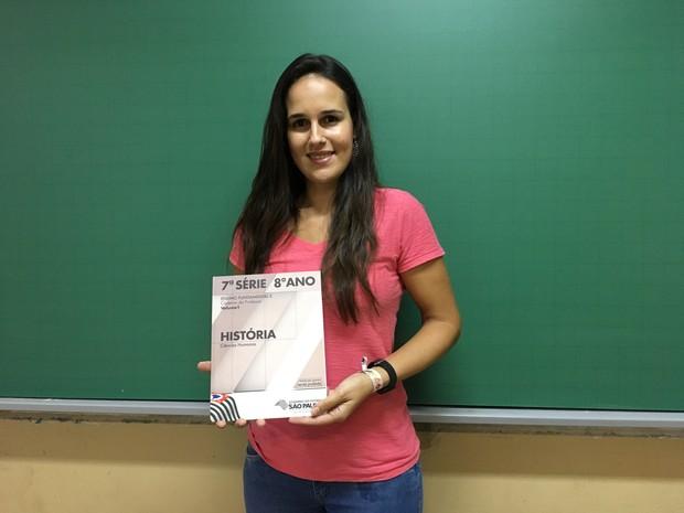 Fernanda Gomes Françoso fez uma análise dos materiais didáticos da área de história (Foto: Heloise Hamada/G1)