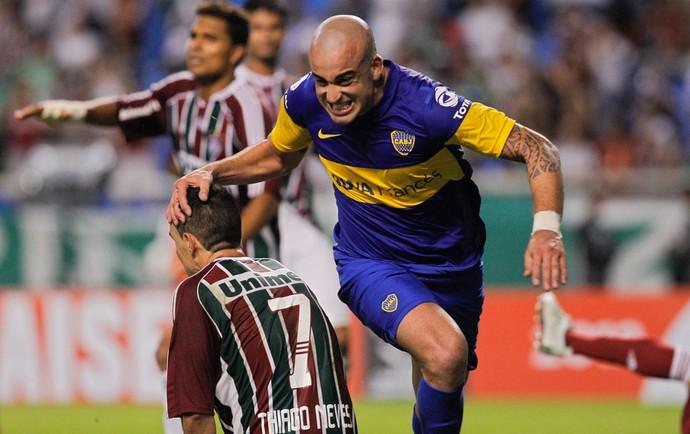 Santiago Silva Thiago Neves Bpca Juniors x Fluminense (Foto: AP)
