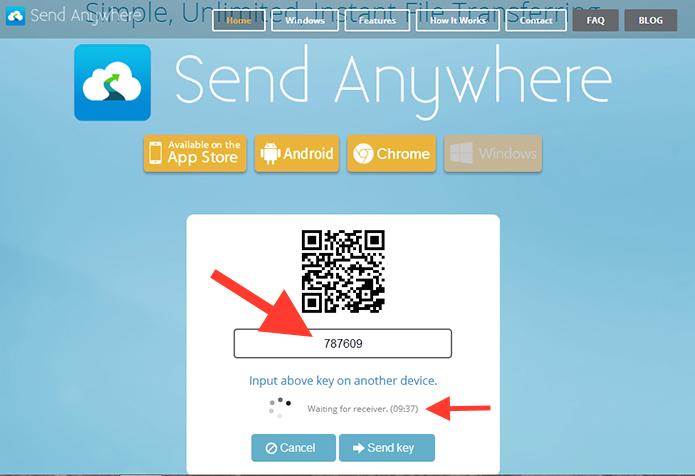 Acessando os códigos de acesso ao arquivo no Send Anywhere (Foto: Reprodução/Marvin Costa)