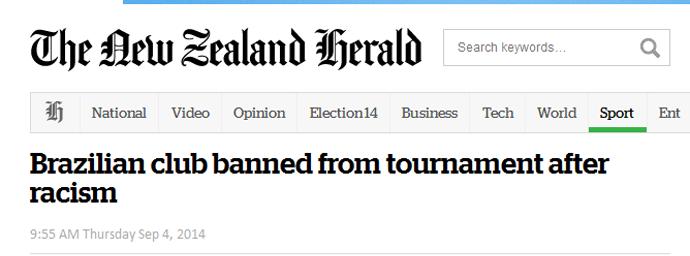 gremio exclusao jornal nova zelandia (Foto: Reprodução)