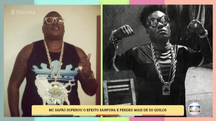 Antes e depois: à direita, o cantor 50 kg mais magro (Foto: TV Globo)