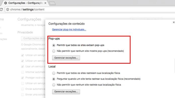 Permitindo a exibição de pop-ups no Google Chrome  (Foto: Reprodução/Camila Peres)