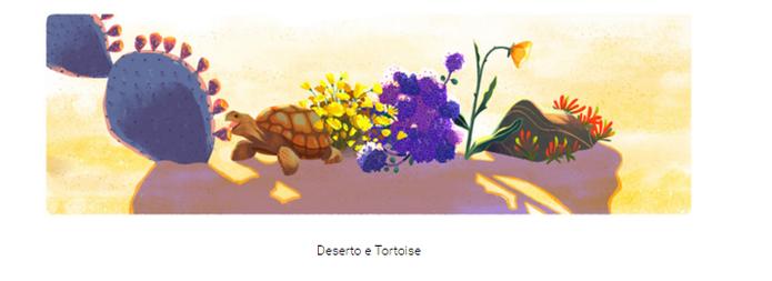 O doodle Dia da Terra 2016 ilustrou também os desertos (Reprodução/Carol Danelli)