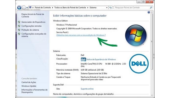 Seta aponta para link de atualização do Windows (Foto: Reprodução/Raquel Freire)