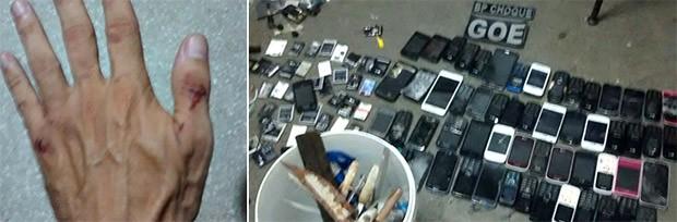 Um dos agentes ficou com a mão machucada ao levar uma pedrada. Durante a revista, mais de 80 aparelhos celulares foram encontrados dentro das celas (Foto: G1/RN)