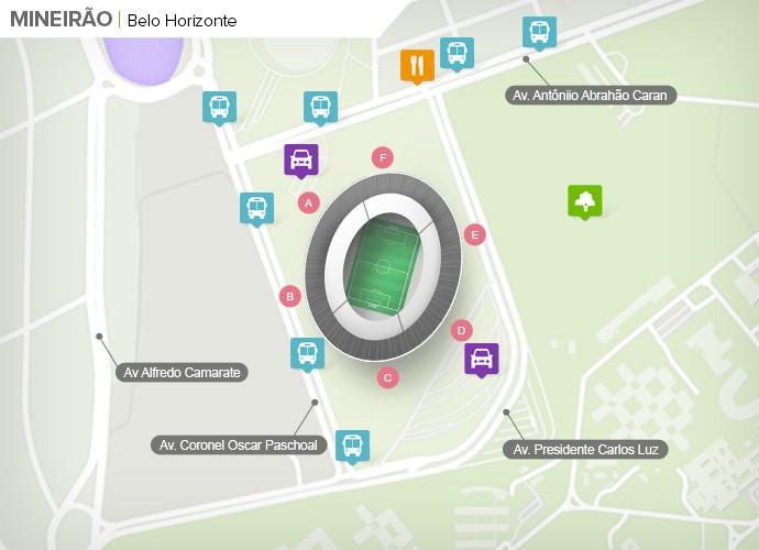 Mapa de acesso às ruas do Mineirão (Foto: Google Maps / Infografia GloboEsporte.com)