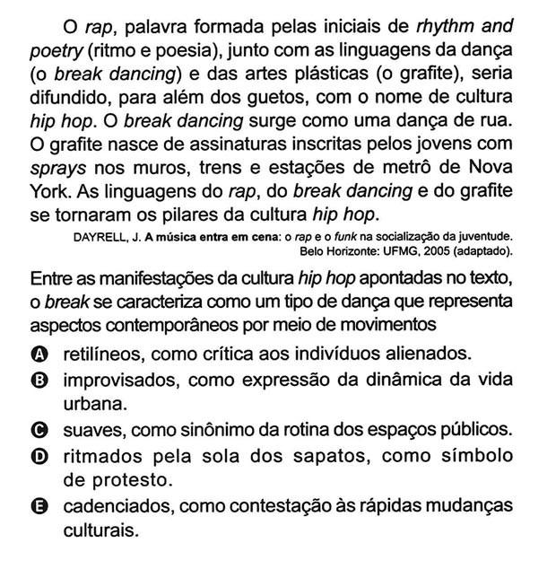Rap (2º Dia - 96 da Prova Amarela) (Foto: Reprodução/Inep)