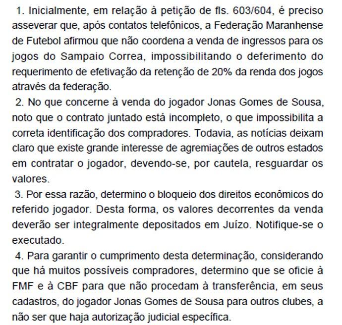 Decisão judicial Jonas (Foto: Reprodução)