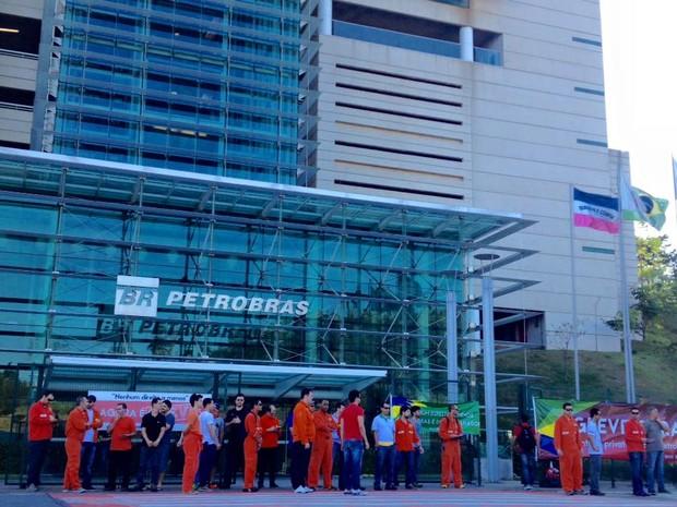 Petroleiros se reúnem na sede da Petrobrás, no Espírito Santo (Foto: Divulgação/ Sindipetro-ES)