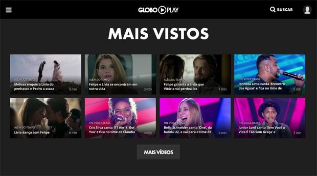 Mais vistos no Globo Play, nova plataforma digital de vídeos da Globo (Foto: Reprodução/Globo Play)