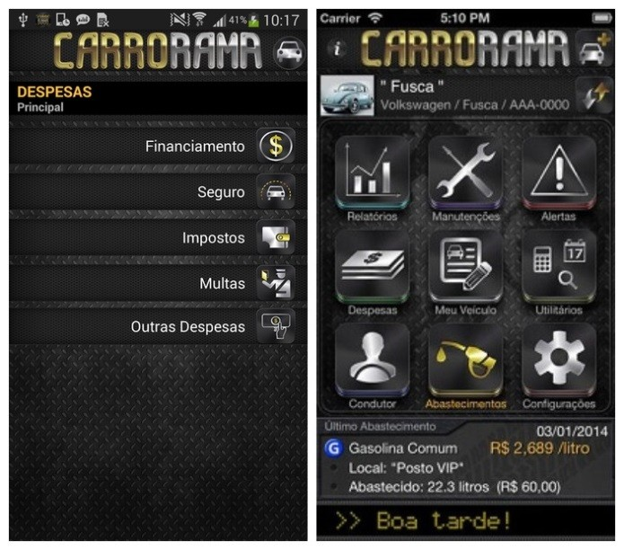 Carrorama é um aplicativo que controla os gastos e as manutenções do carro (Foto: Divulgação)