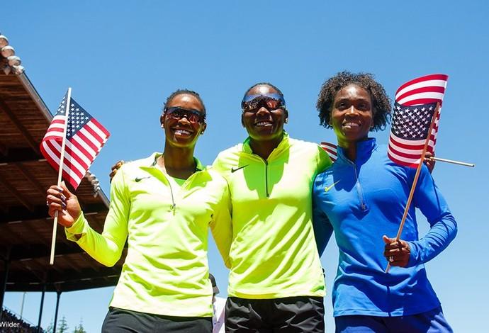 Brittney Reese, Tianna Bartoletta e Janay DeLoach atletismo EUA (Foto: Divulgação/US Olympic Team)
