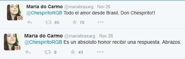 Maria do Carmo respondeu ao humorista agradecendo o tuíte (Foto: Reprodução/Twitter)