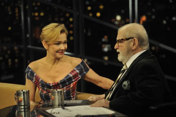 Julia Lemmertz durante entrevista no 'Programa do Jô' (Foto: Reinaldo Marques/TV Globo)
