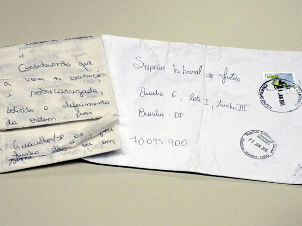 Pedido de habeas corpus escrito em papel higiênico e enviado por detento de SP ao Supremo Tribunal de Justiça (Foto: Supremo Tribunal de Justiça/Divulgação)