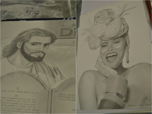 Além de pinturas, detentos desenham retratos (Foto: Viviane Machado/ G1 ES)