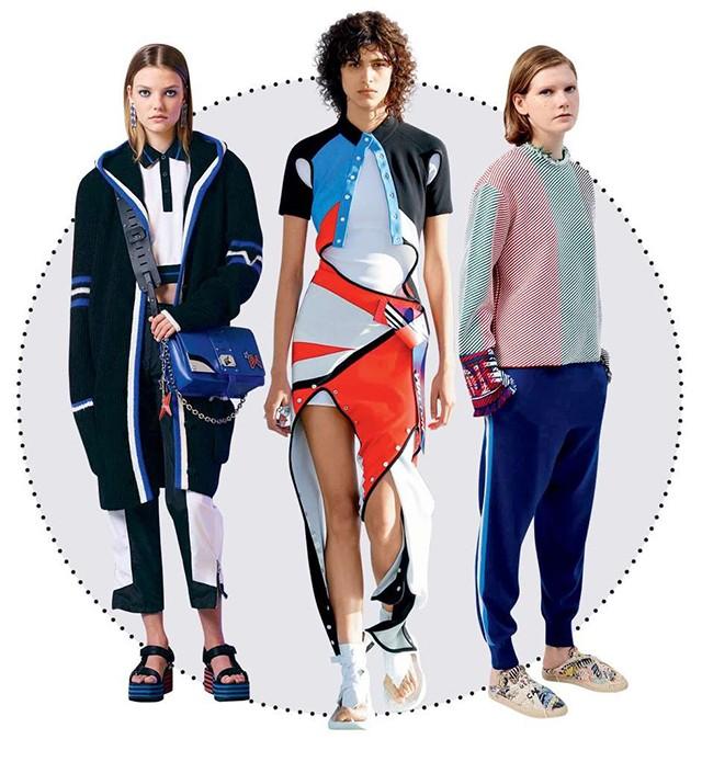 Athleisure: o exercício esportivo também tem mood escapista, sugerindo recreação e diversão no dia a dia, a qualquer hora. A partir da esquerda, looks Versace, Louis Vuitton e Ports 1961 (Foto: Divulgação)