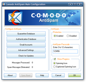 Interface Comodo Anti-Spam