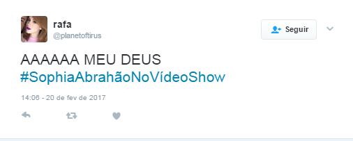 Estreia de Sophia Abrahão no Vídeo Show repercurte na web (Foto: Reprodução / Twitter)