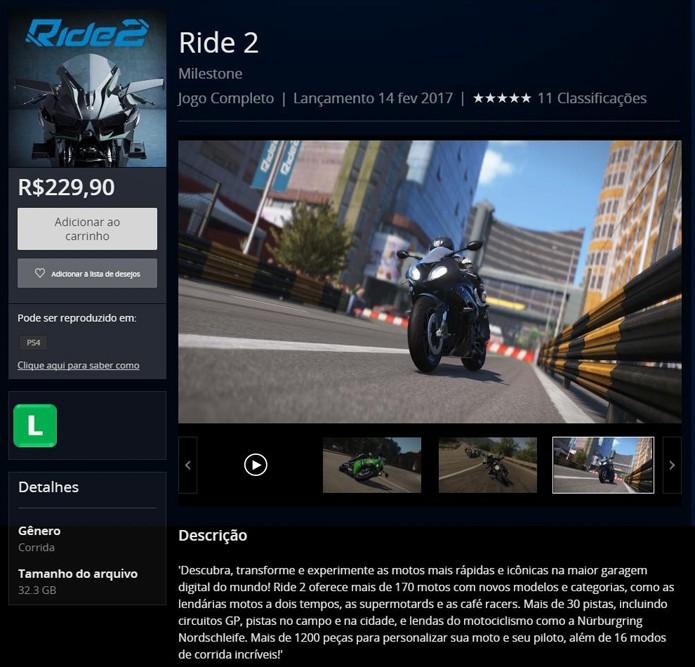 Página de Ride 2 na PlayStation Store (Foto: Reprodução/André Mello)