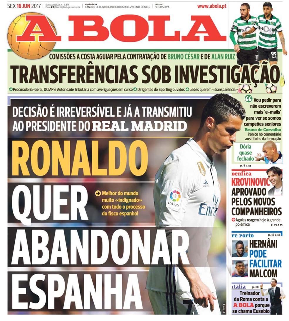 Cristiano Ronaldo capa jornal A Bola (Foto: Reprodução )