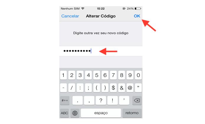 Confirmando o vinculo do novo código de bloqueio de tela ao iOS (Foto: Reprodução/Marvin Costa)
