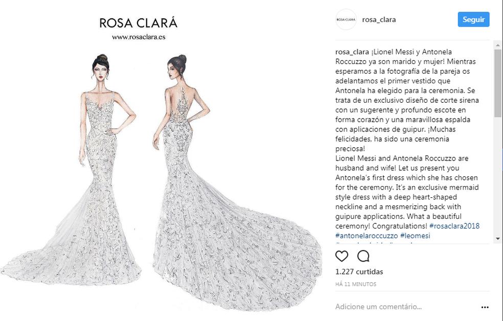 Empresa que fez o vestido de Antonela Roccuzzo revela o desenho e afirma que Messi já está casado (Foto: Instagram / @rosa_clara)