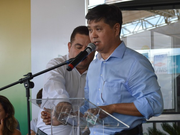 Presidente do Sistema Famasul, Mauricio Saito, na abertura do Showtec 2017 (Foto: Anderson Viegas/G1 MS)