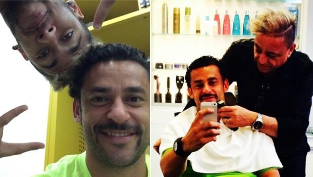 Fred e seu bigode com Neymar e no salo. (Foto: Reproduo Instagram)