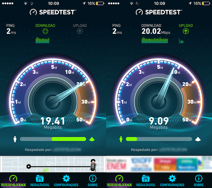 Teste de ping, download e upload do Speedtest para iPhone (Foto: Reprodução/Marvin Costa)