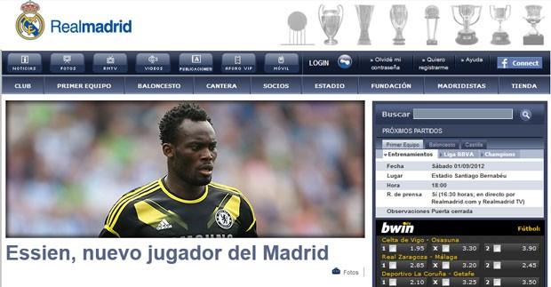 Print - Real Madrid anuncia Essien (Foto: Reprodução / Site oficial do Real Madrid)