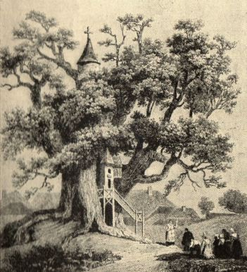 Ilustração do século XVIII retrata a Chêne Chapelle (Foto: Wikimedia Commons)