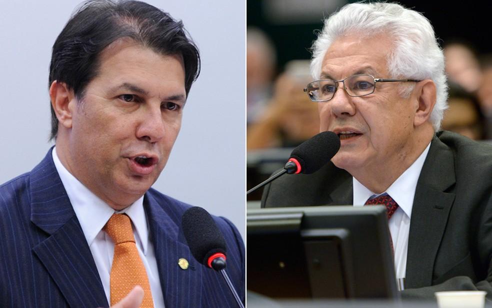 Os deputados Arthur Maia (à esquerda) e Arlindo Chinaglia discutiram em sessão da comissão da reforma da Previdência (Foto: Lucio Bernardo Junior/Câmara dos Deputados; Leonardo Prado/Câmara dos Deputados)