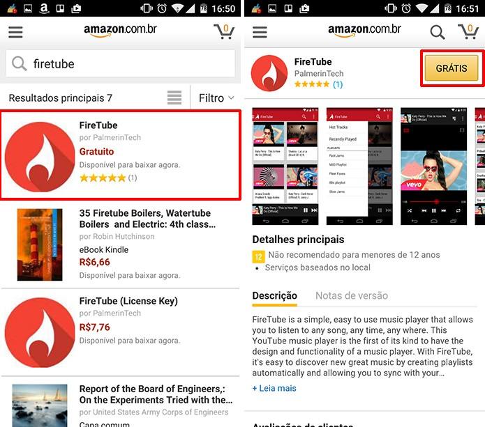 Após instalar Amazon Appstore, procure pelo FireTube para ouvir vídeos em segundo plano (Foto: Reprodução/Elson de Souza)